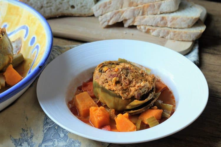 Italian Stewed Stuffed Artichokes