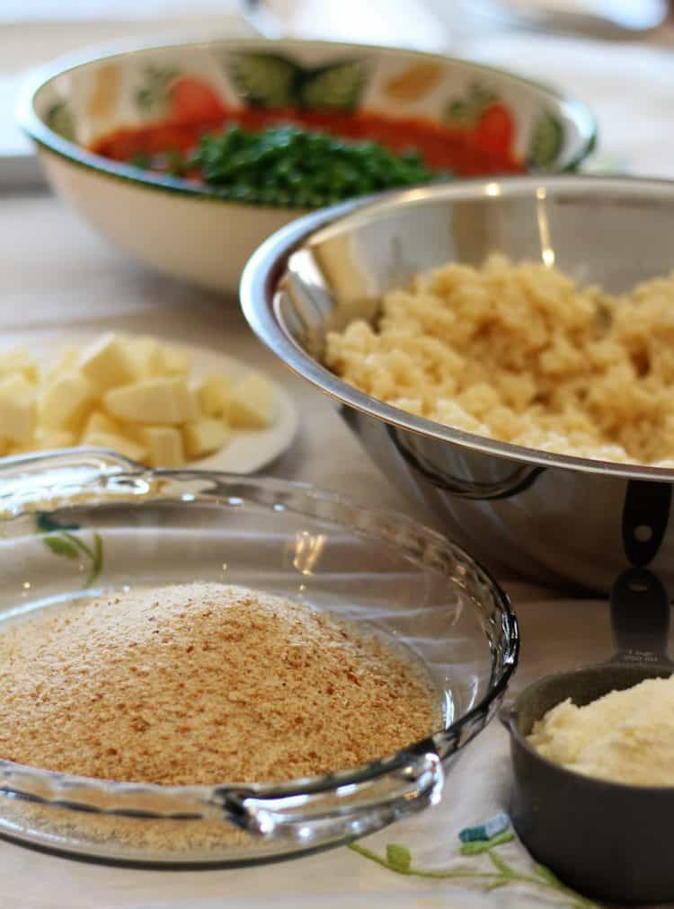 ingredients in bowls for assembly of arancini