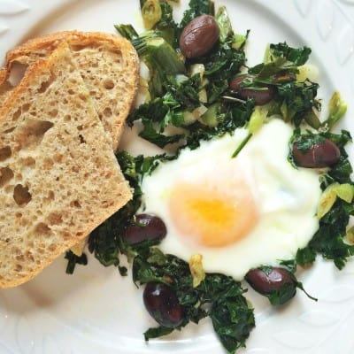 Happiness is a Fried Egg with Greens for Lunch