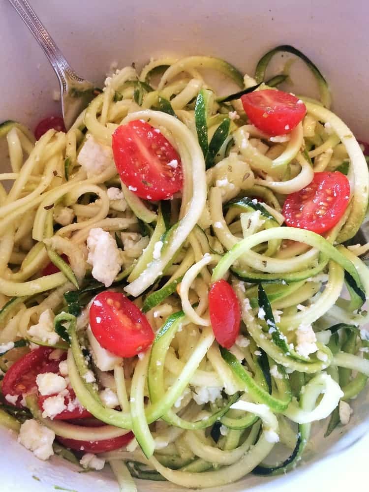 Spiralized Zucchini  Salad with Cherry Tomatoes and Feta
