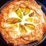 tart with ricotta and zucchini blossoms