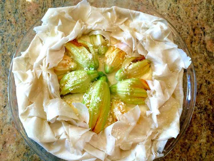 Zucchini Blossom and Ricotta Filo Tart