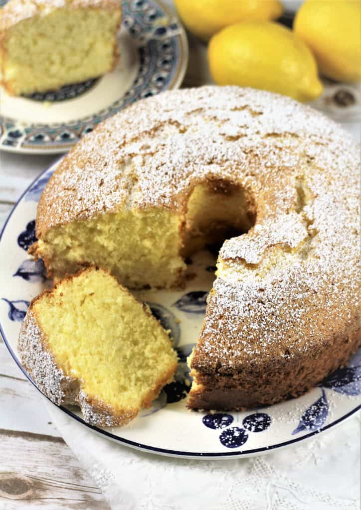 Nonna's Sponge Cake with one slice cut