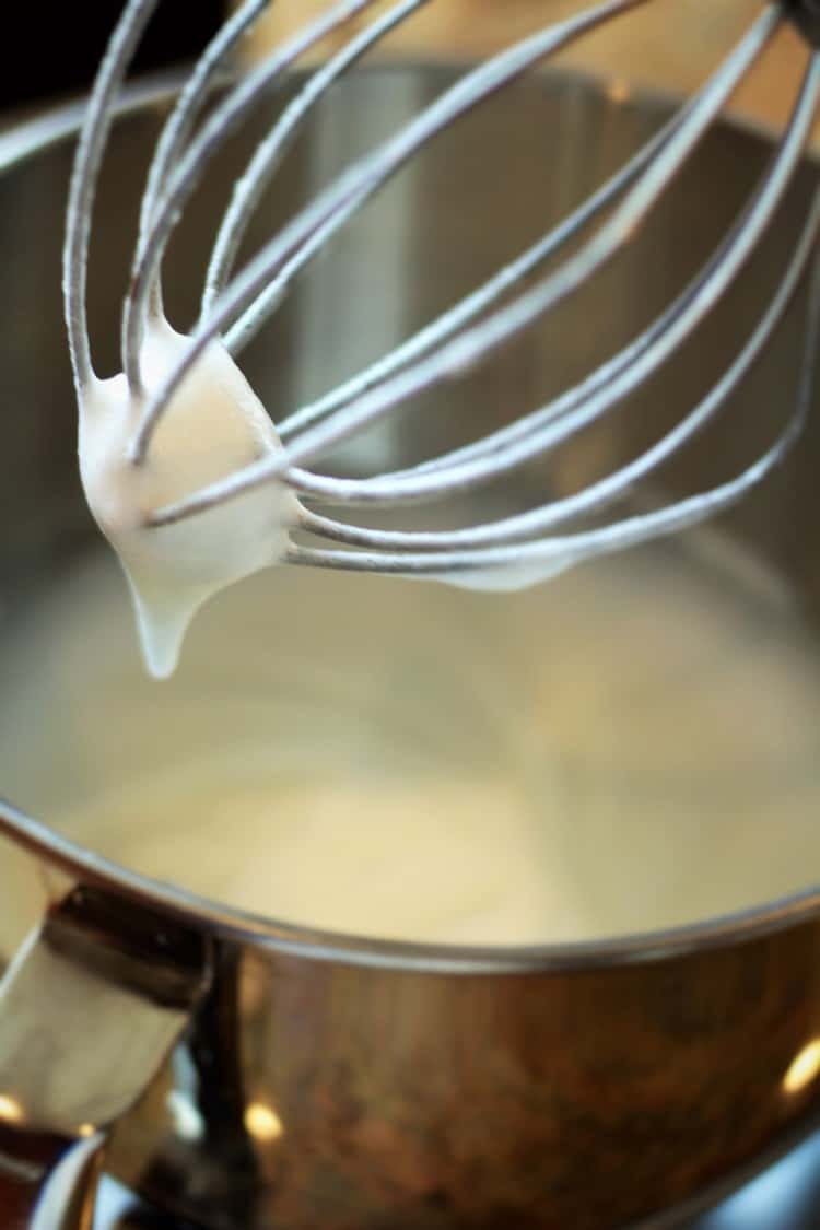 whipping egg whites in mixer for nonna's sponge cake