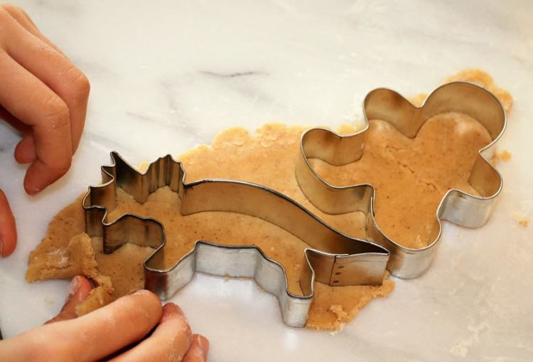cutting out dinosaur cookie shapes
