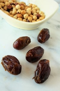 bowl of hazelnuts and dates