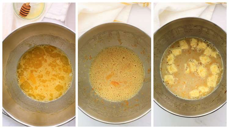 steps for mixing eggs, sugar and butter for brioche