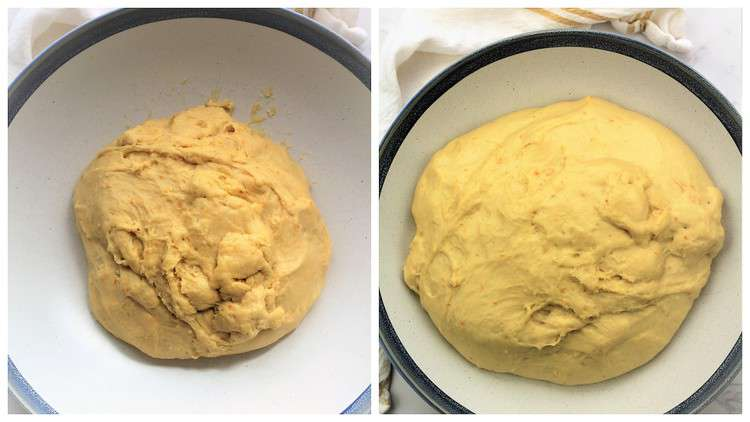 before and after images of proofed brioche dough in bowl