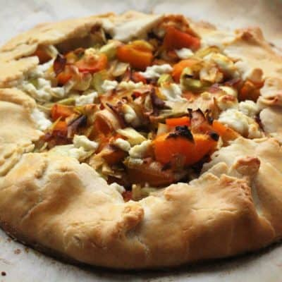 savoury butternut squash,, leek and goat cheese crostata