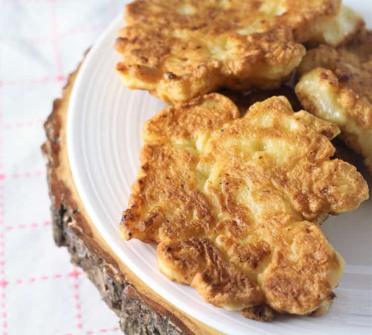 cauliflower fritters on a plate