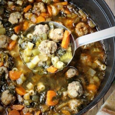 Escarole and Meatball Soup (aka Italian Wedding Soup)