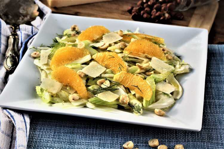 Sicilian Style Fennel, Celery and Orange Salad with Hazelnuts