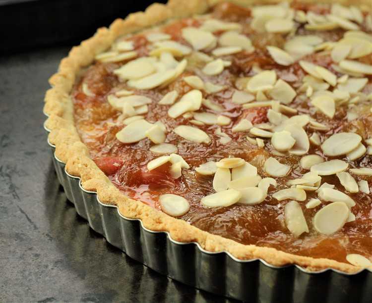 Rhubarb Ricotta Almond Tart in tart pan