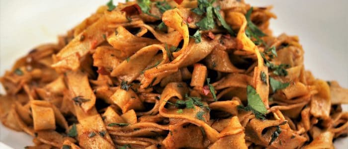Chickpea Flour Tagliatelle with Garlic Paprika Sauce