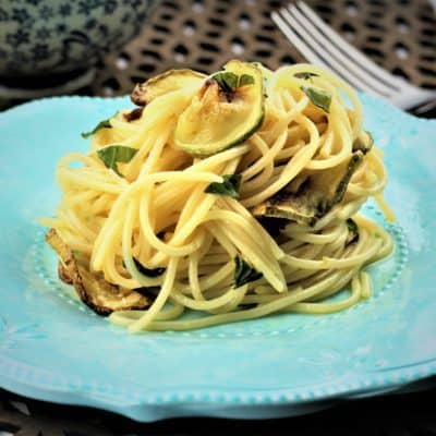 Spaghetti with Oven Fried Zucchini