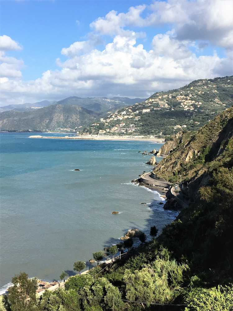 view of the coastline from a cliff