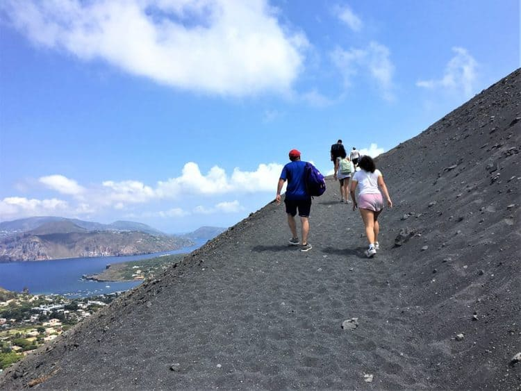 walking on path on Vulcano