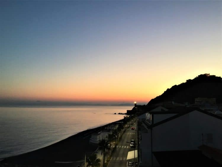 sunrise over the light house in Capo D'Orlando