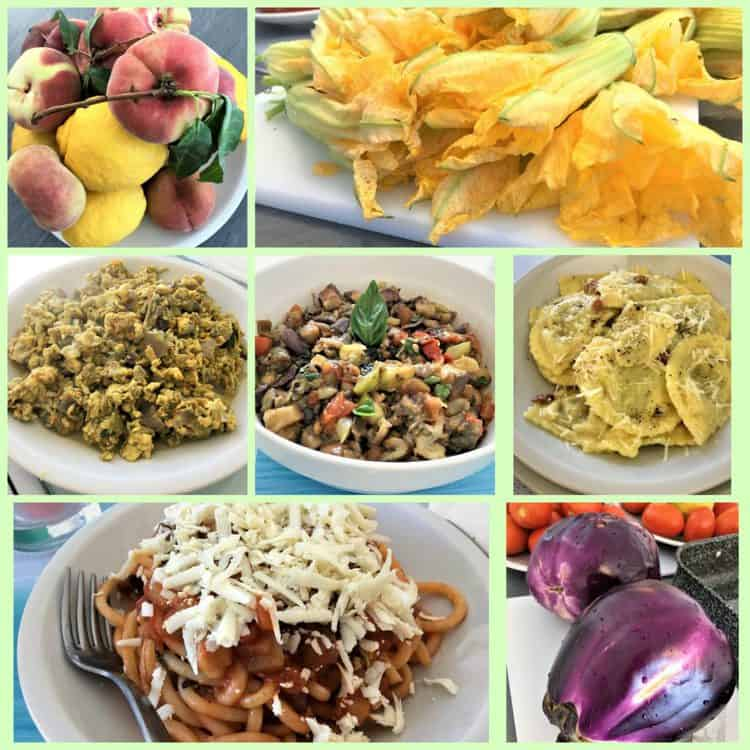 collage of various homemade dishes with Sicilian ingredients