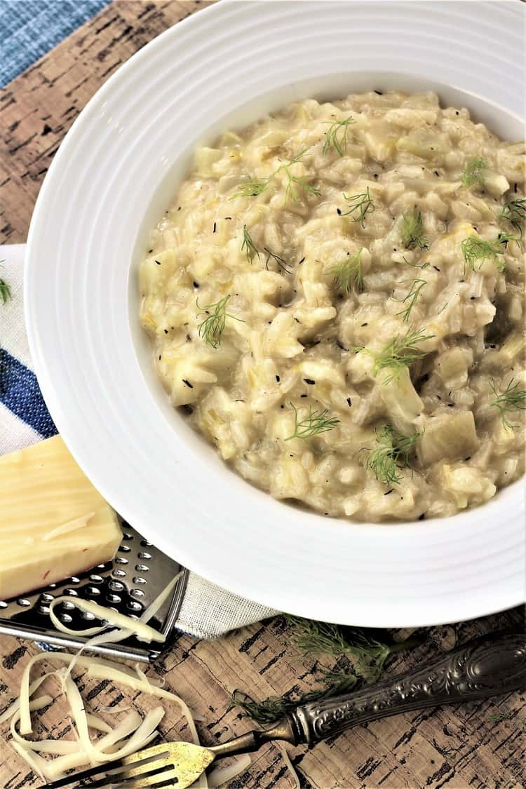 bowl of fennel and leek risotto