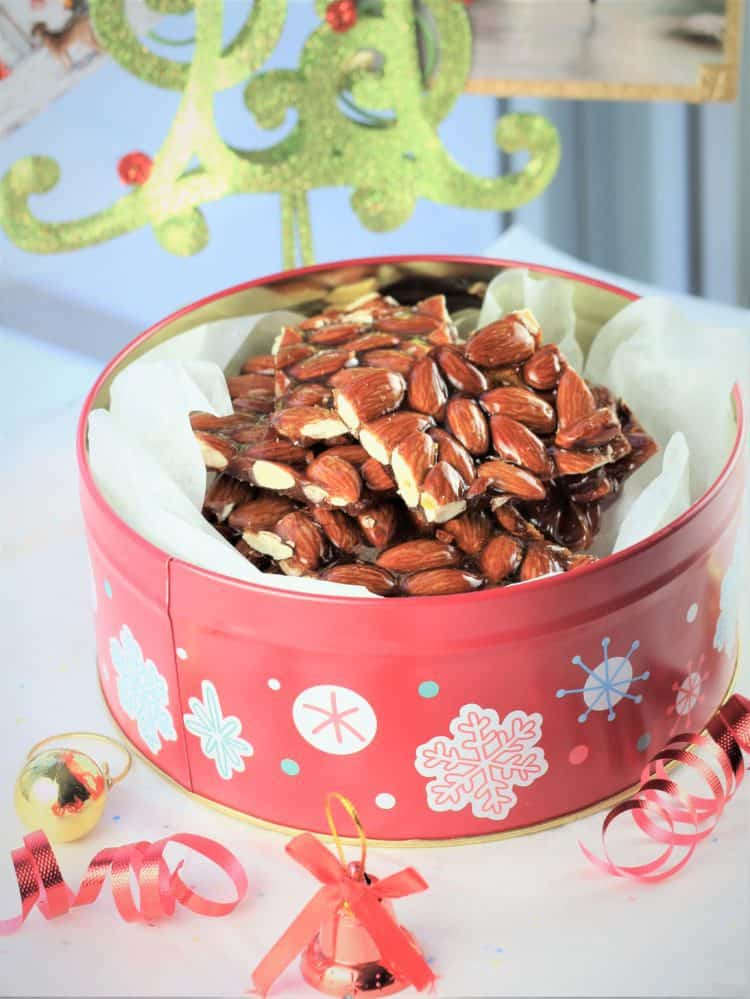 Christmas tin filled with Sicilian almond torrone