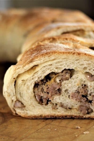 wedges of Sicilian Sausage Bread (Bignolati)