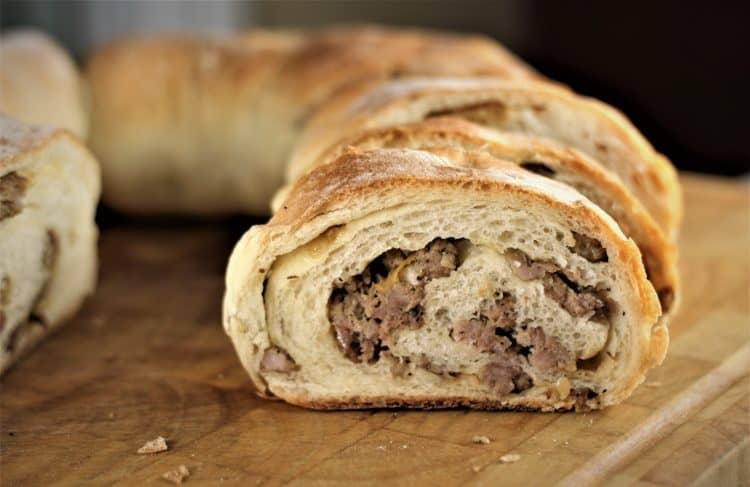 wedges of Sicilian sausage bread