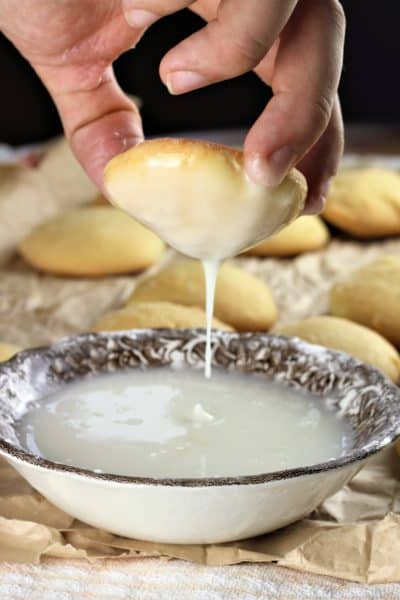 lemon glaze dripping from cookie