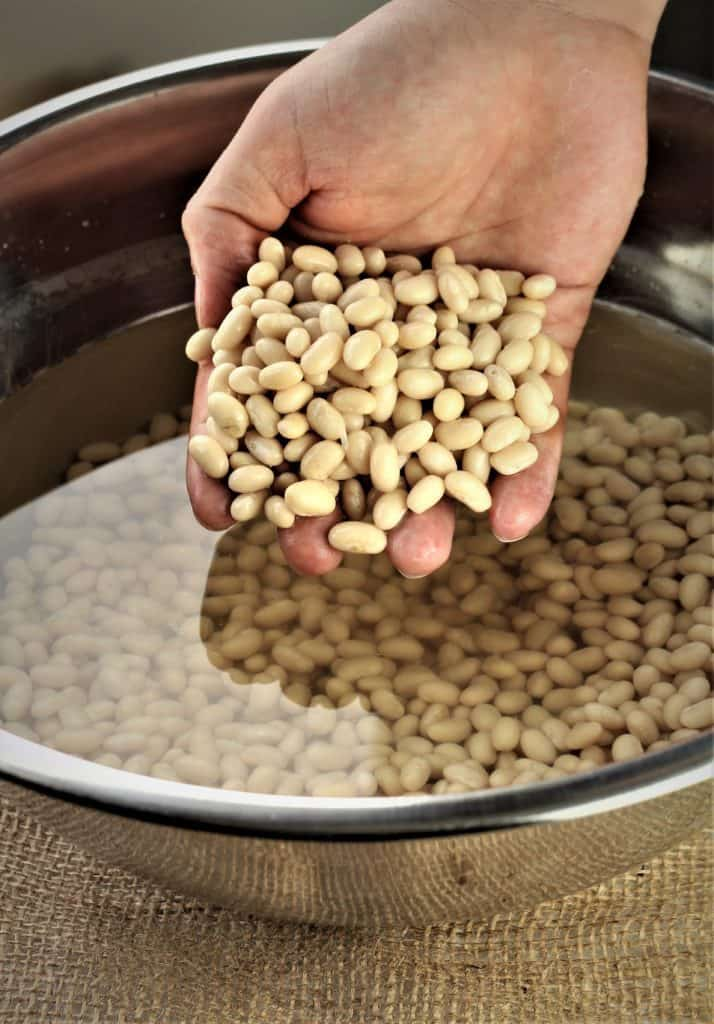 white beans that have been soaked for White Bean and Potato Soup