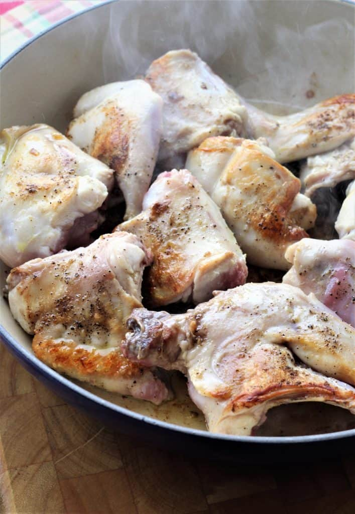 browned rabbit piecesfor Coniglio in Agrodolce (Sweet and Sour Rabbit)