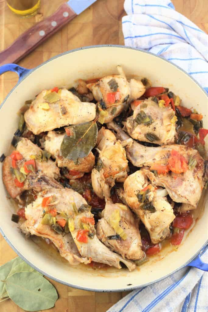 Coniglio in Agrodolce (Sweet and Sour Rabbit) presented in pan