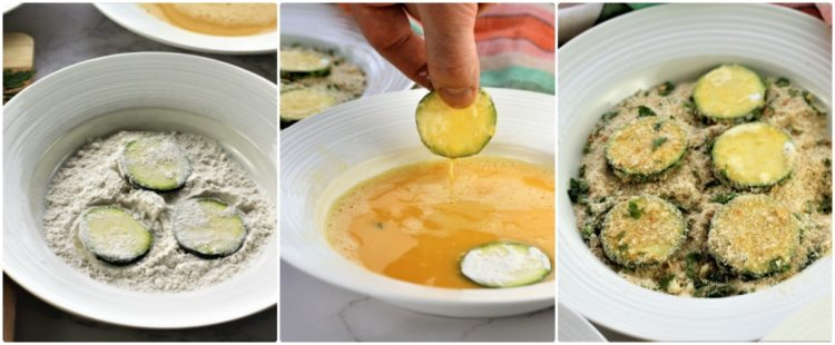 series of step by step photos for dredging zucchini