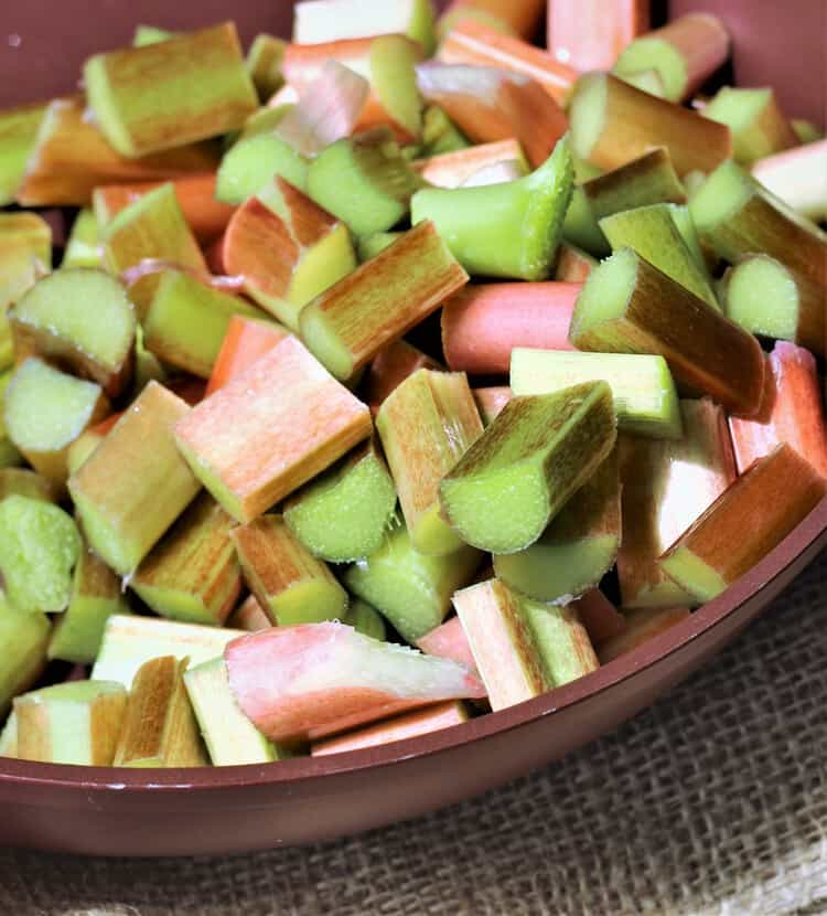 rhubarb cut into pieces in a skillet