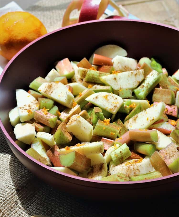 rhubarb, apples, orange zest in a skillet