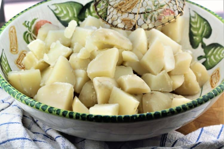 bowl of cubed cook potatoes