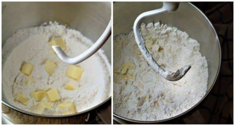 mixer bowl with flour and butter before and after it has been mixed