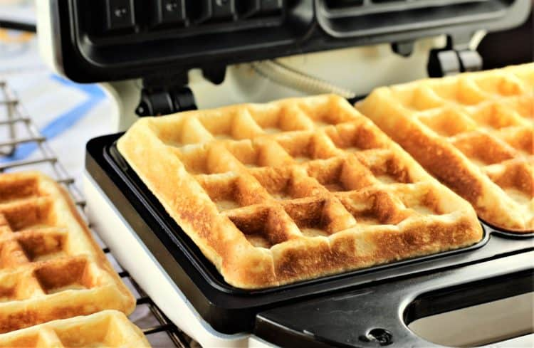 waffle iron with waffles in it