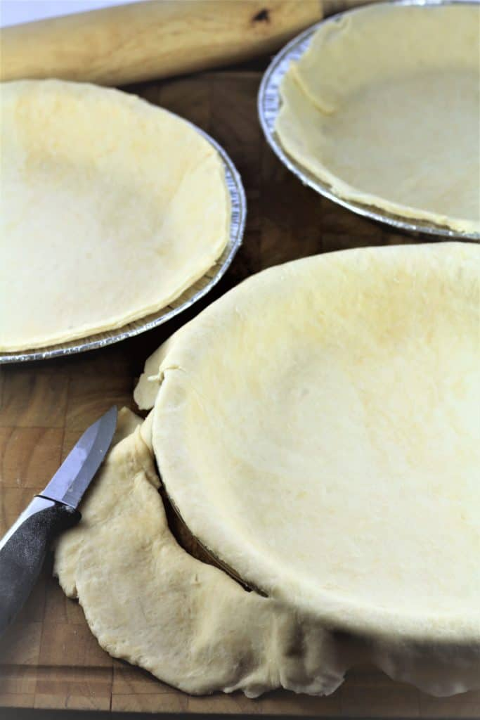 bottom crust rolled onto pie plate