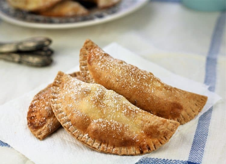 powdered sugar dusted cassatelle on napkin
