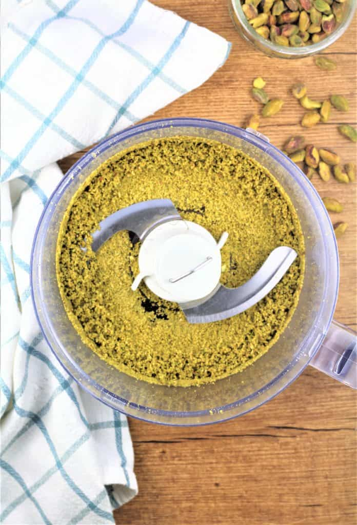food processor with crushed pistachios