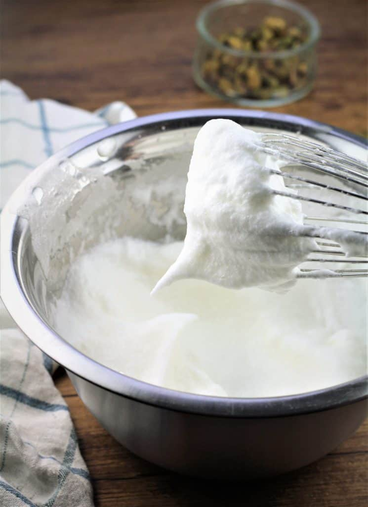 whisked egg whites until stiff