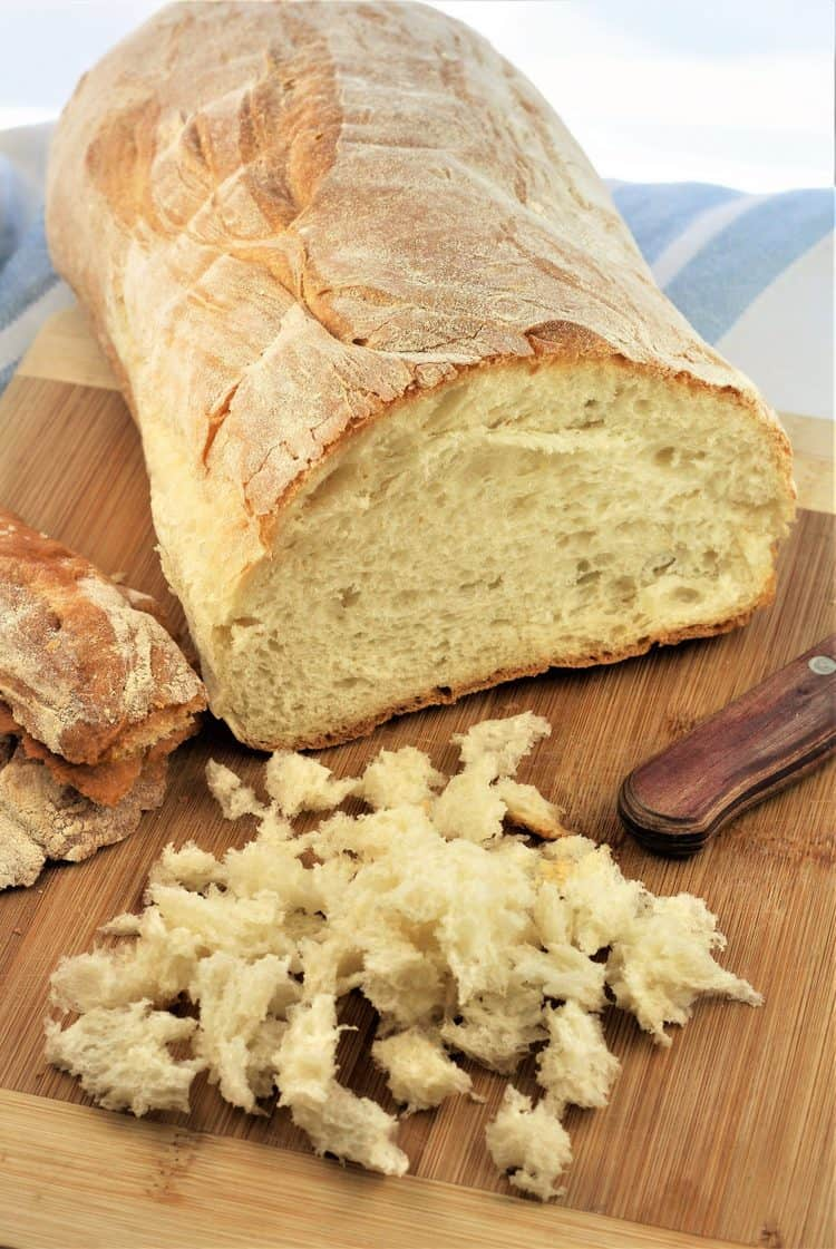 loaf of Italian bread with crumbs