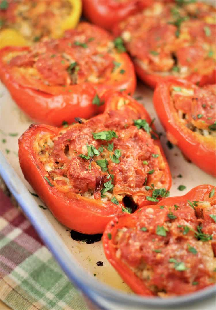 stuffed red pepper halves out of the oven