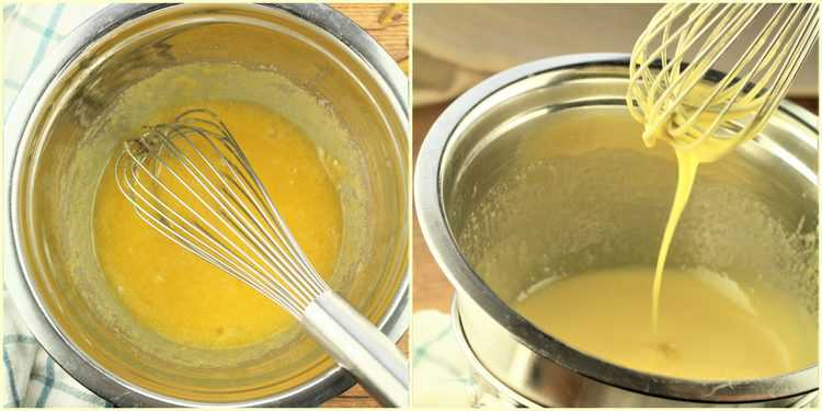 step by step whisking egg yolks over double boiler
