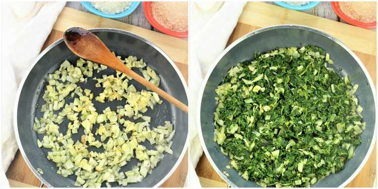 sauted onions in first image, spinach added to skillet in second image