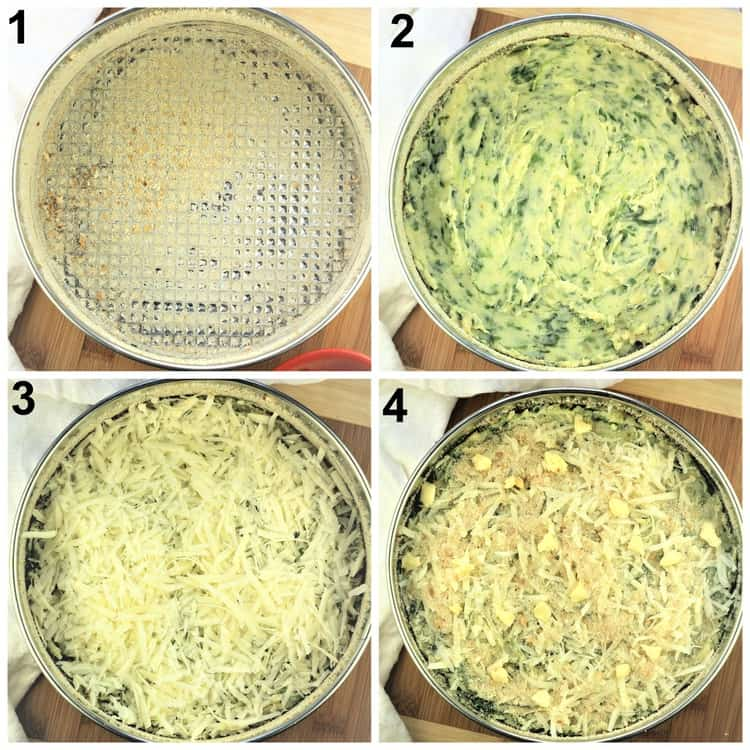 step by step images assembling potato and spinach gateau