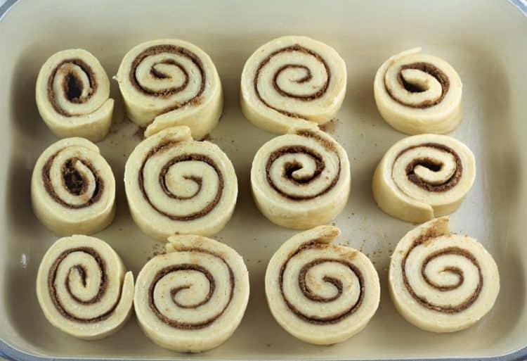 brioche cinnamon rolls dough on baking dish