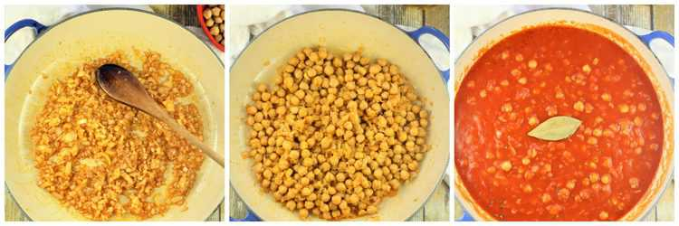 step by step images for making chickpeas in tomato sauce