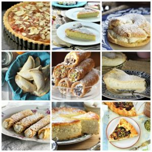 collage of 9 Italian desserts with ricotta