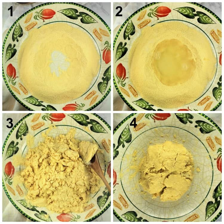 steps for making semolina flour pasta dough